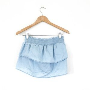 Arie chambray cropped tube top